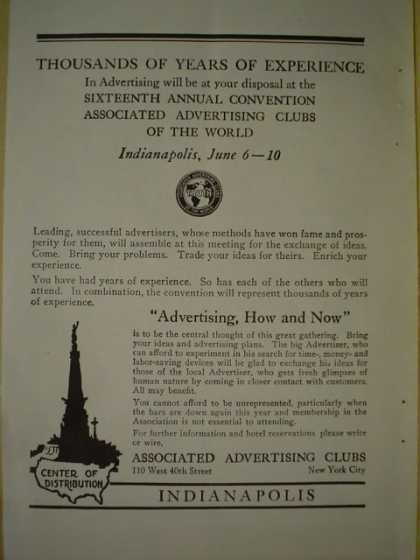 Associated Advertising Clubs 16th annual convention Advertising How and Now (1920)