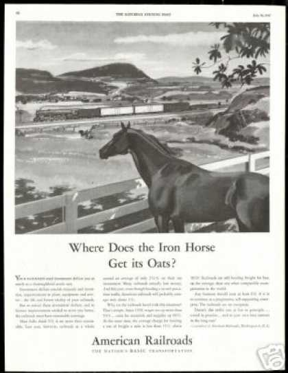 Thoroughbred Horse Train American Railroads (1947)