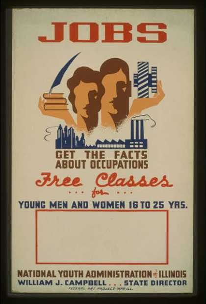 Jobs – get the facts about occupations – free classes for young men and women 16 to 25 yrs. – National Youth Administration of Illinois / Dusek. (1941)