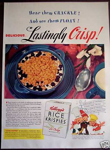 Kellogg's Rice Krispies Snap Crackle Pop Cereal (1939)