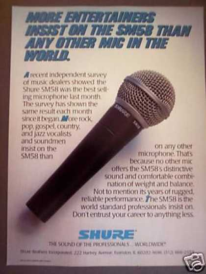 Shure Sm58 Classic Pro Mic Microphone (1988)