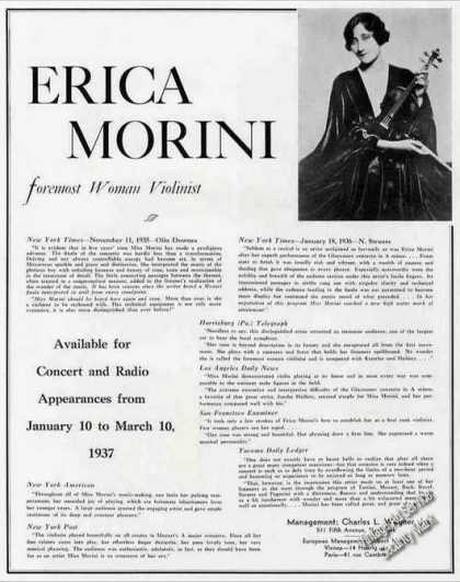 Erica Morini Photo Violinist Collectible Trade (1936)