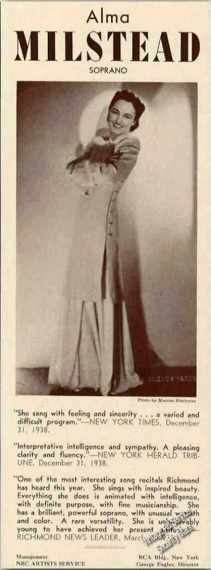 Alma Milstead Photo Soprano Antique Booking (1939)