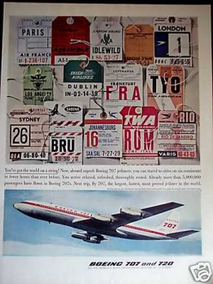 Boeing 707 Jet Plane Airline Tags Photo (1960)