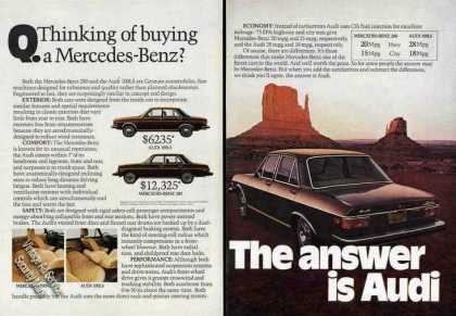 """Audi Ad """"Thinking of Buying Different Car?"""" (1975)"""