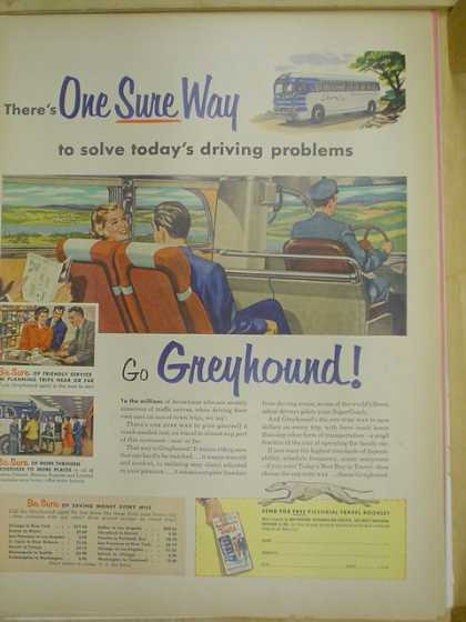 Greyhound Bus Lines. One sure way to save todays driving problems (1953)