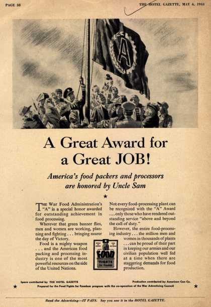 "War Advertising Council's War Food Administration ""A"" – A Great Award for a Great Job (1944)"