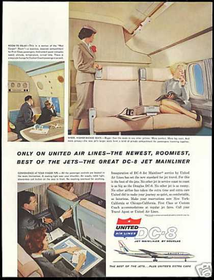 United Airlines DC-8 DC8 Stewardess Photo (1959)