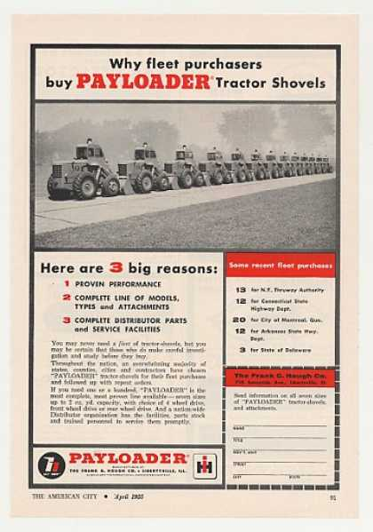 Hough Payloader Tractor Shovels Fleet Photo (1955)