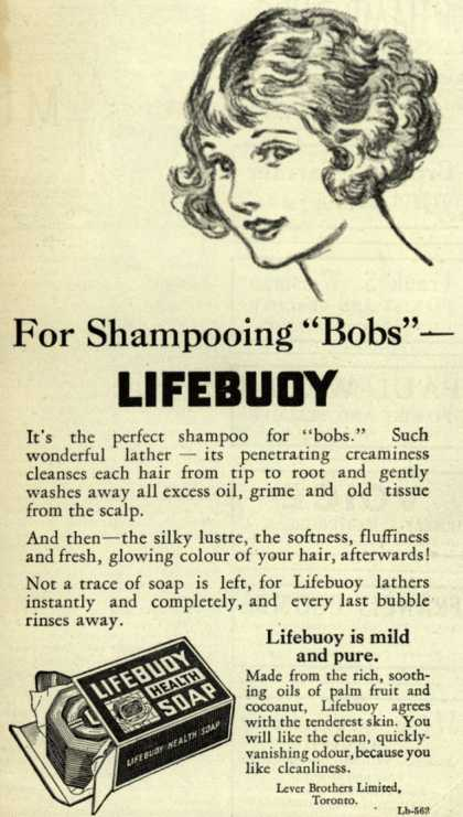 "Lever Brothers Limited's Lifebuoy Health Soap – For Shampooing ""Bobs"" – Lifebuoy (1925)"