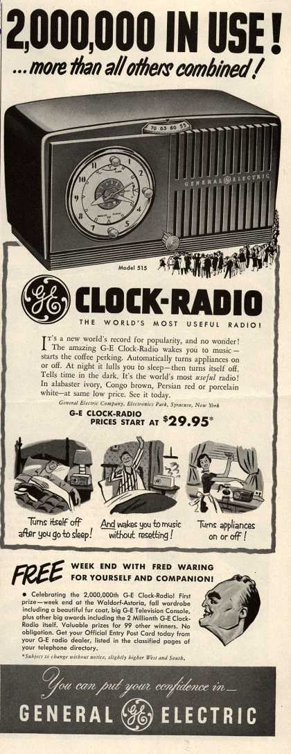 General Electric Company's GE Clock-Radio – 2,000,000 In Use! ...more than all others combined (1952)