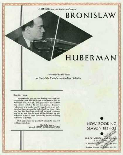 Bronislaw Huberman Violinist Booking (1934)