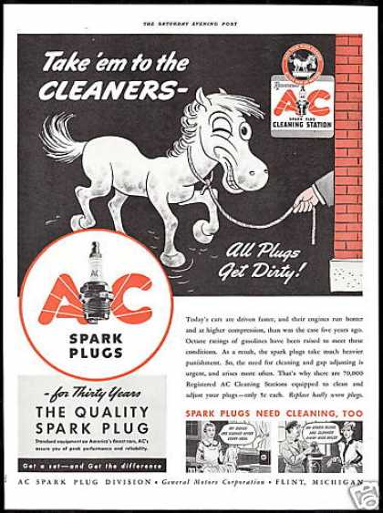 AC Spark Plugs Cleaning Station Horse Vintage (1939)
