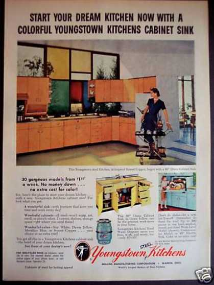 Youngstown Steel Kitchens Cabinets Sink (1955)