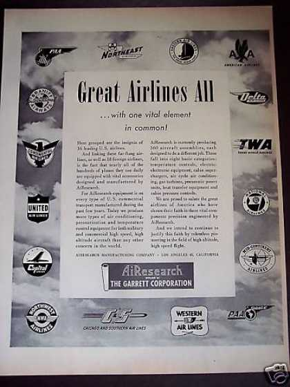 Airline Insignias Twa United Aa Airesearch (1950)