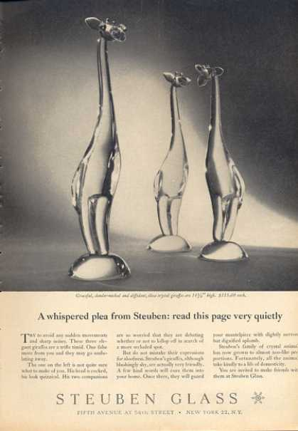Steuben Glass Crystal Giraffes Photo (1963)