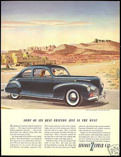 Lincoln Zephyr V-12 Car Taos New Mexico (1940)