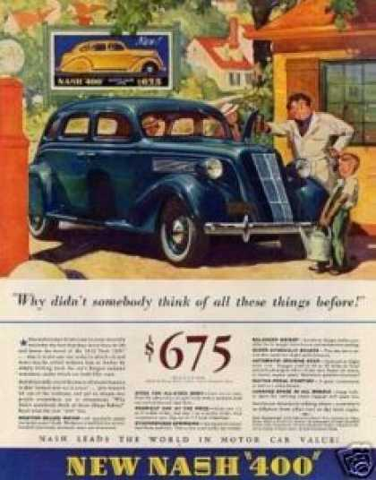 "Nash ""400"" Car Color Ad ""Why Didn't Somebody... (1935)"