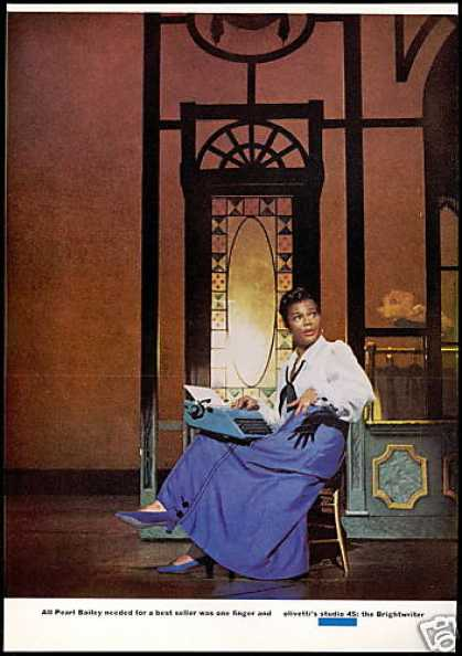 Pearl Bailey Photo Olivetti Typewriter Vintage (1969)