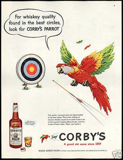 Corby's Whiskey Parrot Archery Target Arrow (1951)