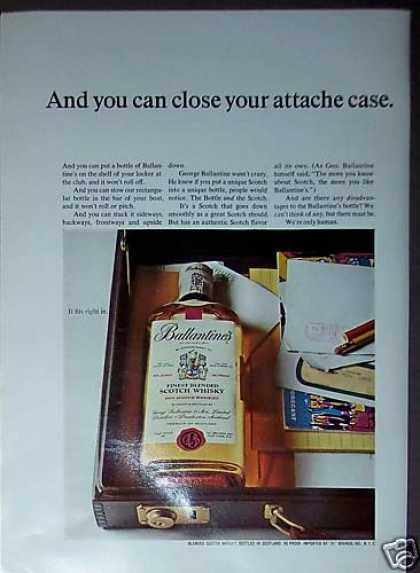 Ballantines Scotch Whisky Fits In Attache Case (1967)