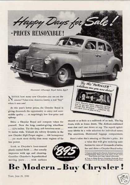 "Chrysler Royal Sedan Ad ""Happy Days... (1940)"