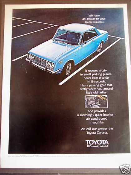 Blue Toyota Corona Car Automobile (1970)
