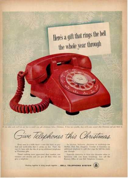 Vinteage Red Dial Phone Bell Telephone System Ad T (1957)