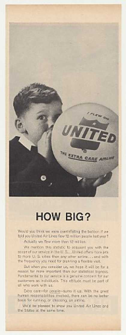 United Airlines Boy Blowing Up Balloon Photo (1963)