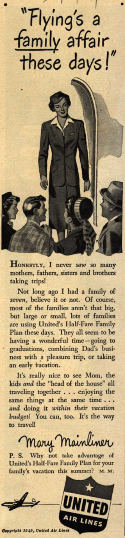 "United Air Line's Half-Fare Family Plan – ""Flying's a family affair these days!"" (1949)"