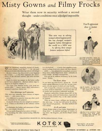 Cellucotton Products Company's Sanitary Napkins – Misty Gowns and Filmy Frocks (1925)