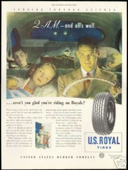 US Royal Car Tires Driving Family Vintage (1947)