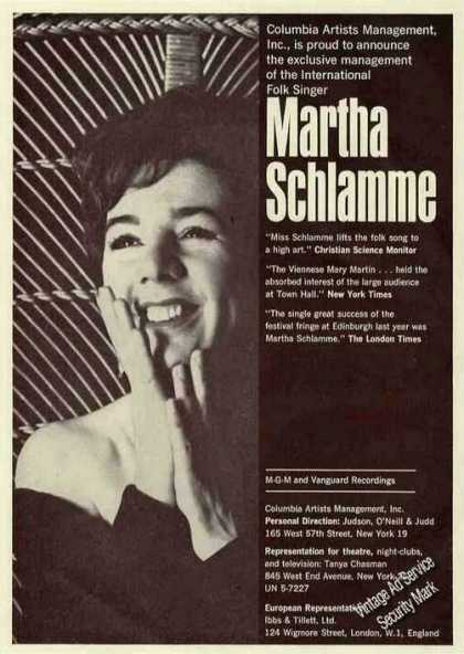 Martha Schlamme Photo Folk Singer Rare Booking (1963)