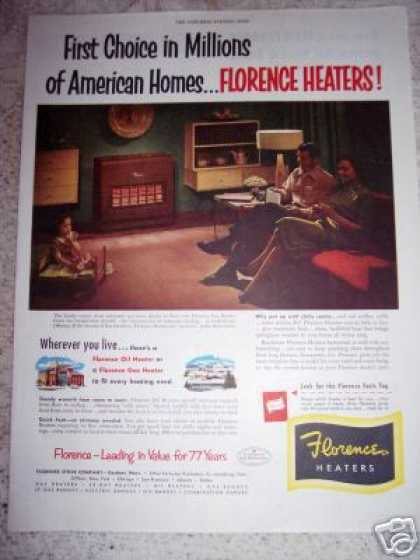 Florence Stove Co. Heaters Gas or Oil Original (1951)