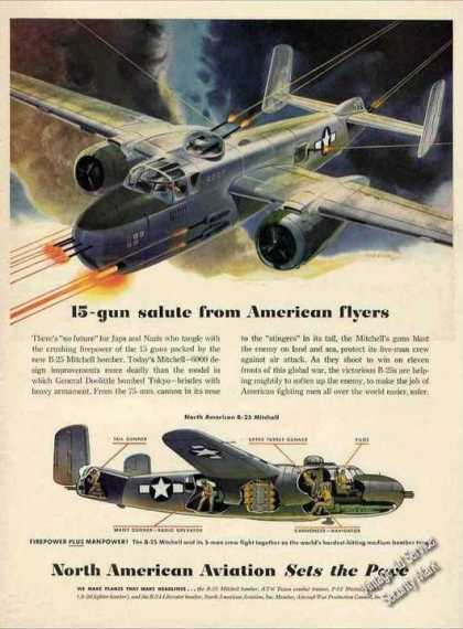 Wwii North American B-25 Mitchell Ad Nice Art (1944)