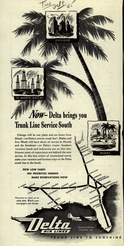 Delta Airline's Direct Flights – Now – Delta brings you Trunk Line Service South (1945)
