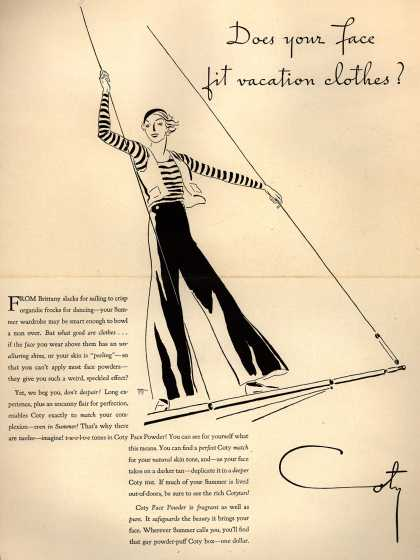 Coty's Face Powder – Does your face fit vacation clothes? (1932)