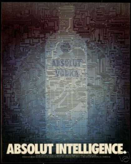 Absolut Intelligence Vodka Bottle Photo (1990)