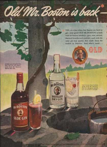 Old Mr Boston Sloe Gin Distilled Dry Gin A (1946)