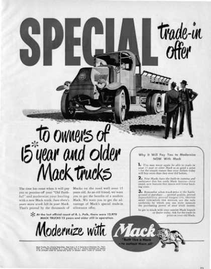 Mack Truck Dumptrade In Offer (1950)