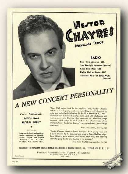 Nestor Chayres Photo Mexican Tenor Antique (1946)