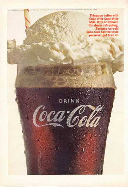 Coke Coca Cola Float Glass Print (1966)