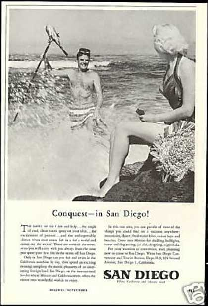 San Diego California Spear Fishing Photo (1958)