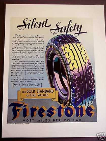 Firestone Tire Silent Safety Glossy Color (1932)