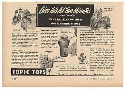 Topic Toys Hungry Piggy Merry-Go-Sip Trade (1949)