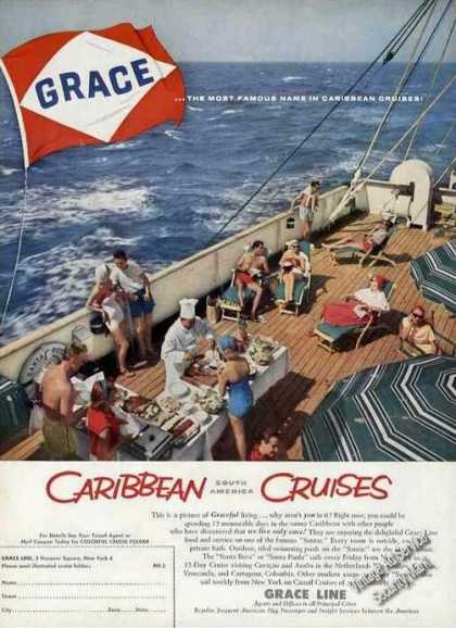 Grace Caribbean Cruise Smorgasbord On Deck (1958)