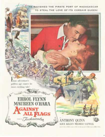 Against All Flags Movie Ad Errol Flynn Quinn (1952)