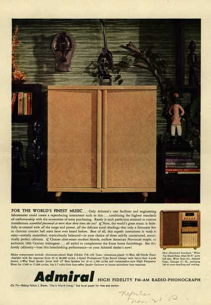 Admiral Corporation's Television Combinations – For the World's Finest Music... Admiral. High Fidelity FM-AM Radio-Phonograph (1953)