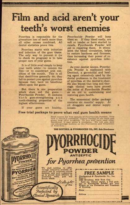 Dentinol & Pyorrhocide Co.'s Pyorrhocide Powder – Film and acid aren't your teeth's worst enemies (1920)