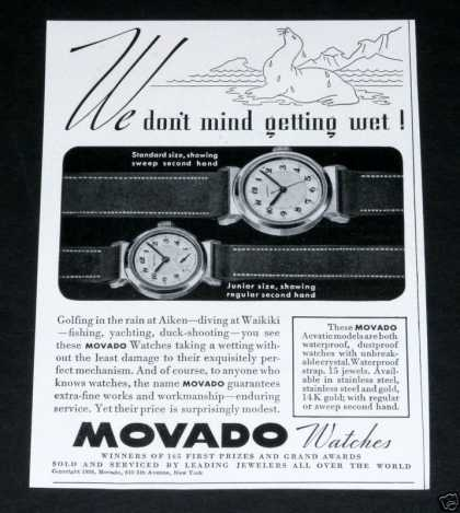 Old , Movado Watches, Acvatic (1938)